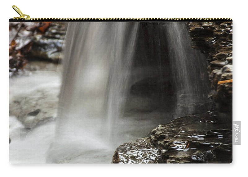 Waterfall Carry-all Pouch featuring the photograph Shale Creek Waterfall by Darleen Stry