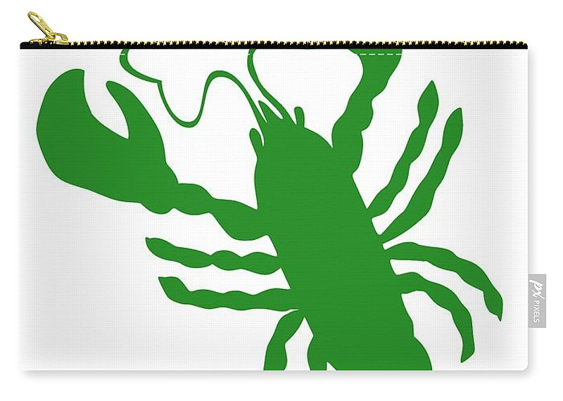 Lobster Luck Carry-all Pouch featuring the digital art Shamrock Lobster With Feelers 458 20120114 by Julie Knapp
