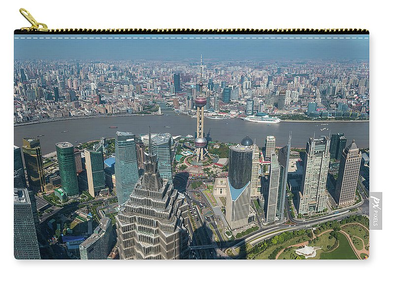 Chinese Culture Carry-all Pouch featuring the photograph Shanghai Aerial View Over Pundong by Fotovoyager