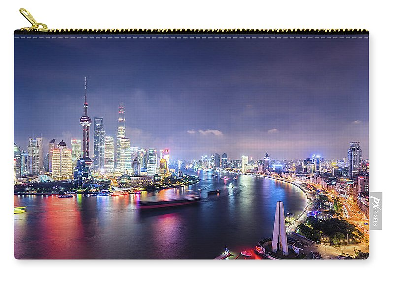 Downtown District Carry-all Pouch featuring the photograph Shanghai Skyline At Night by Yongyuan Dai