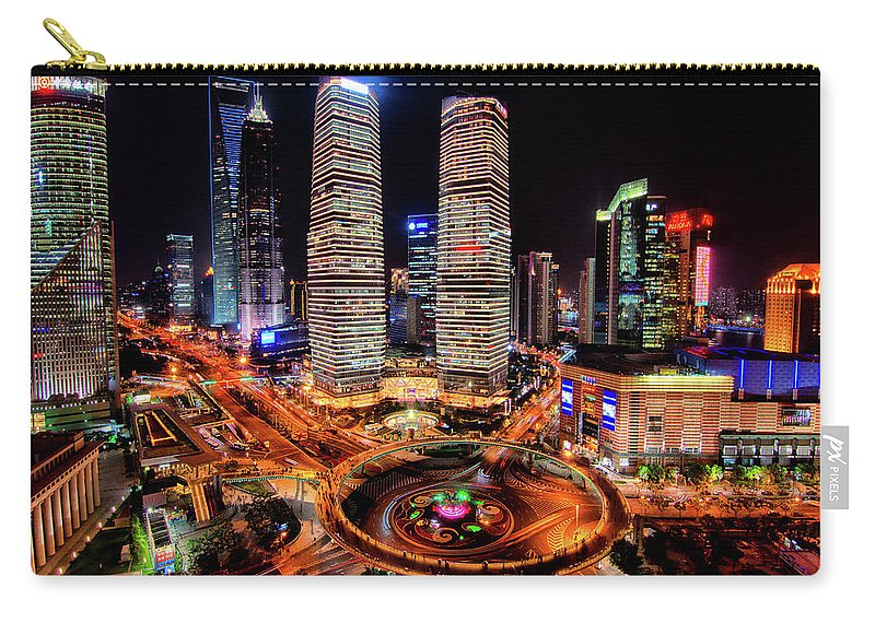 Financial District Carry-all Pouch featuring the photograph Shanghais Financial City Center by Mimo Khair Photography