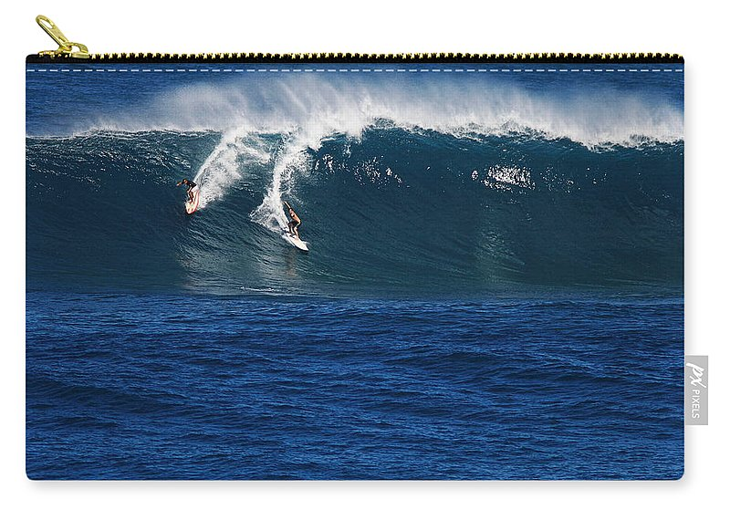 Sharing A Wave Carry-all Pouch featuring the photograph Sharing A Wave In Waimea Bay by Richard Cheski