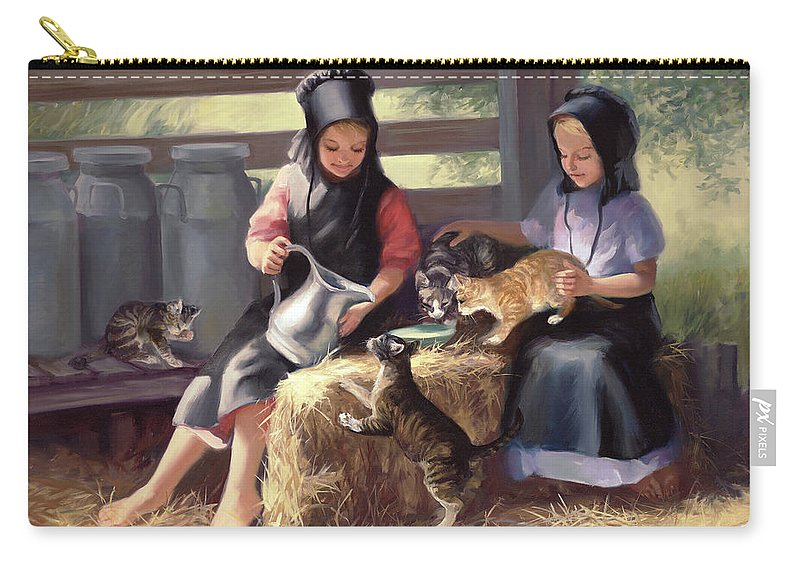 Amish Carry-all Pouch featuring the painting Sharing With A Friend by Laurie Hein