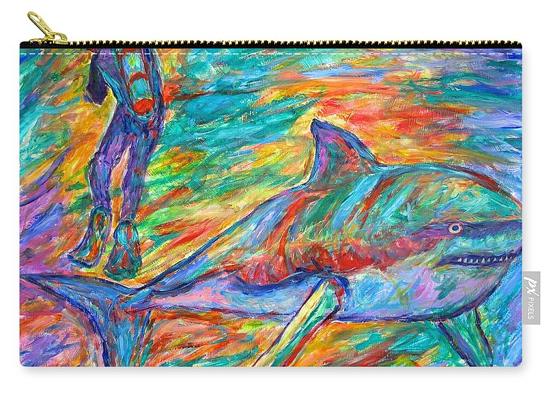 Sharks Carry-all Pouch featuring the painting Shark Beauty by Kendall Kessler