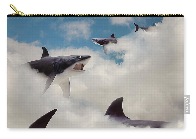 Risk Carry-all Pouch featuring the photograph Sharks Floating In Clouds by John M Lund Photography Inc