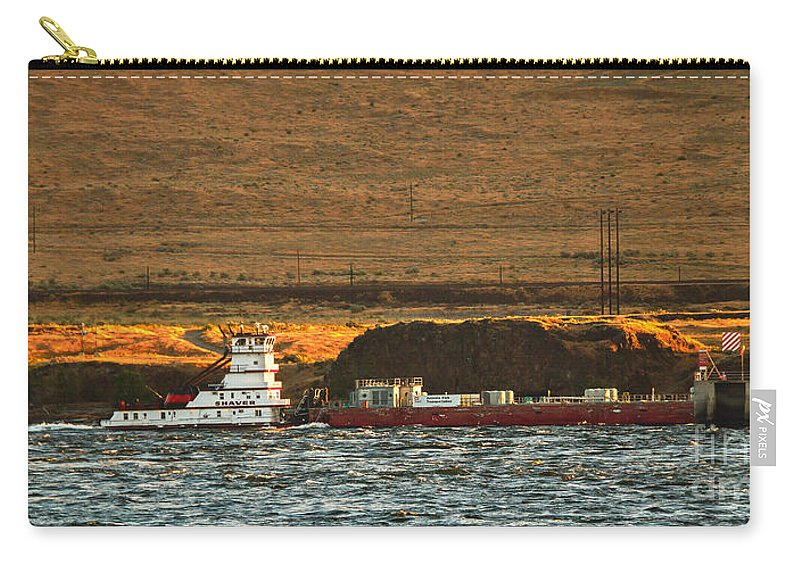 Tug Carry-all Pouch featuring the photograph Shaver Tug On The Columbia River by Robert Bales
