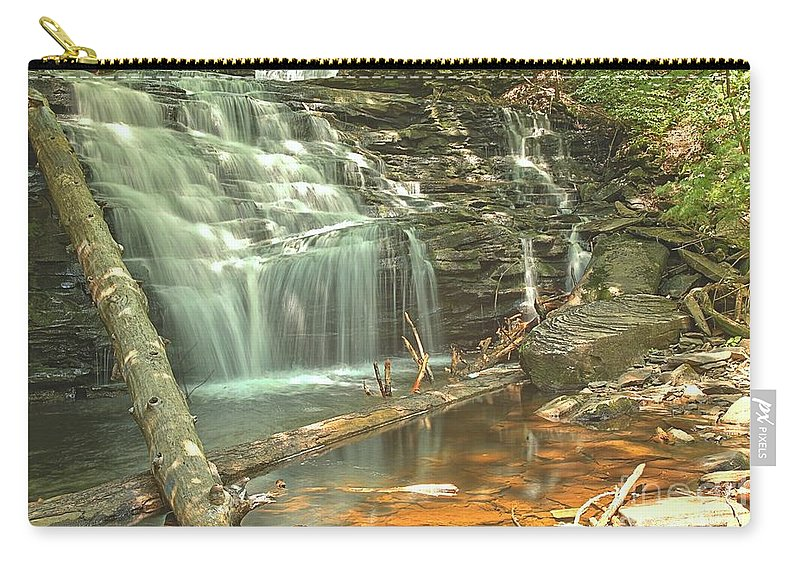 Carry-all Pouch featuring the photograph Shawnee Falls At Ricketts Glen by Adam Jewell