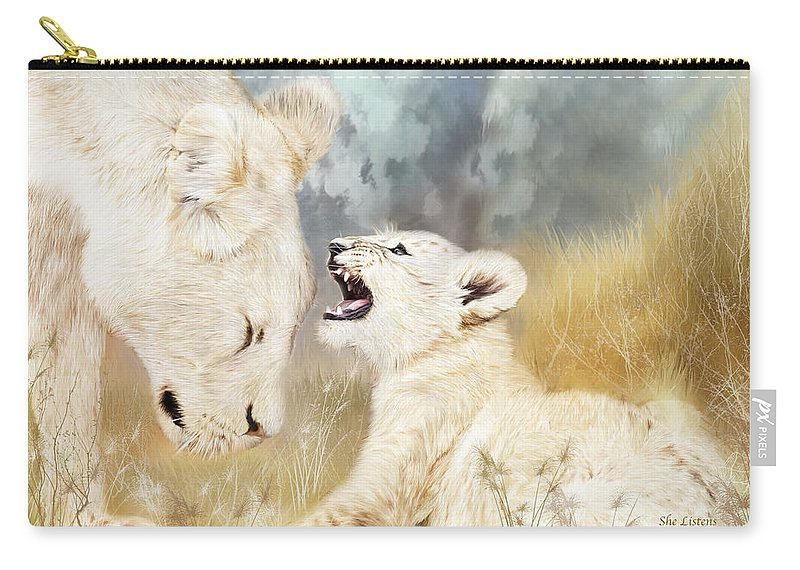 Lion Carry-all Pouch featuring the mixed media She Listens by Carol Cavalaris