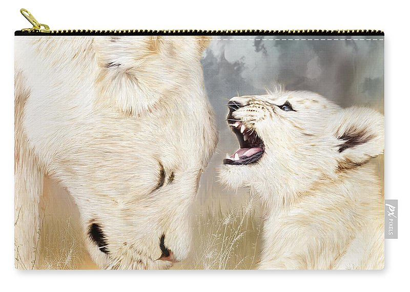 Lion Carry-all Pouch featuring the mixed media She Listens - Square Format by Carol Cavalaris