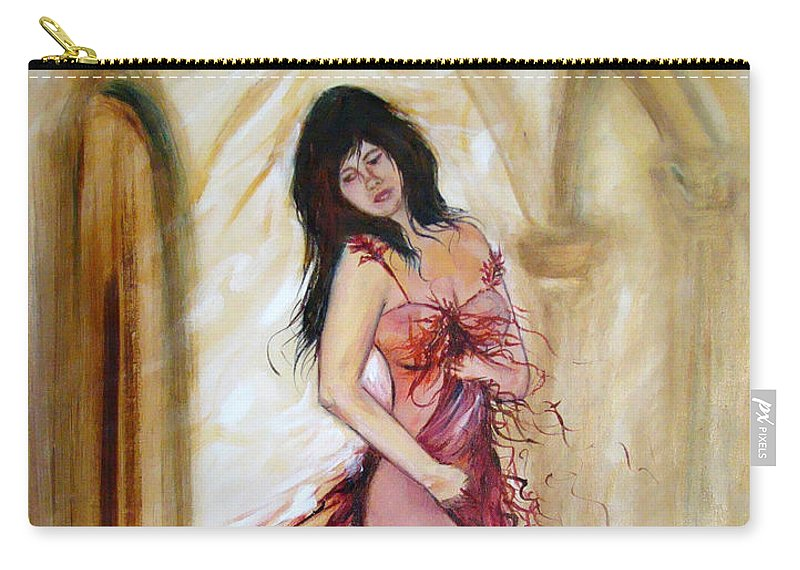 Contemporary Art Carry-all Pouch featuring the painting She by Silvana Abel