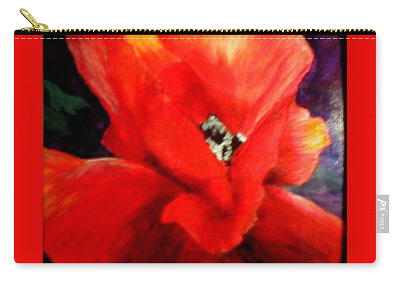 Floral Carry-all Pouch featuring the painting She Wore Red Ruffles by Gail Kirtz