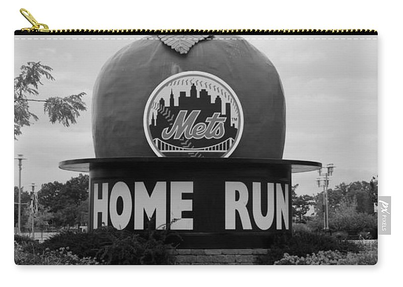 Shea Stadium Carry-all Pouch featuring the photograph SHEA STADIUM HOME RUN APPLE in BLACK AND WHITE by Rob Hans