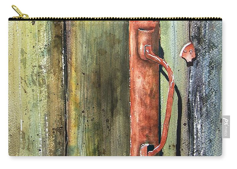 Rustic Carry-all Pouch featuring the painting Shed Door by Sam Sidders