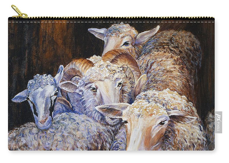 Sheep Carry-all Pouch featuring the painting Sheep 1 by Paula Noblitt