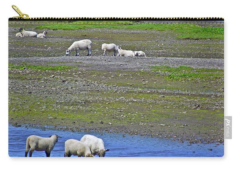 Sheep In Branch Carry-all Pouch featuring the photograph Sheep In Branch-nl by Ruth Hager