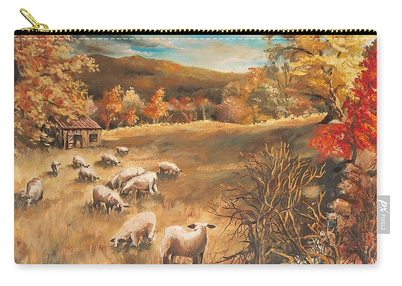 Oil Painting Carry-all Pouch featuring the painting Sheep in October's field by Joy Nichols