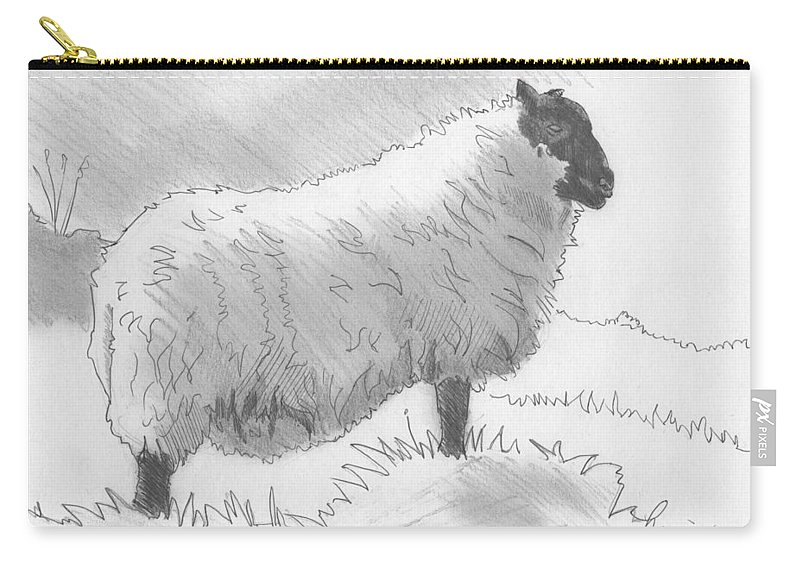 Sheep Carry-all Pouch featuring the drawing Sheep Sketch by Mike Jory