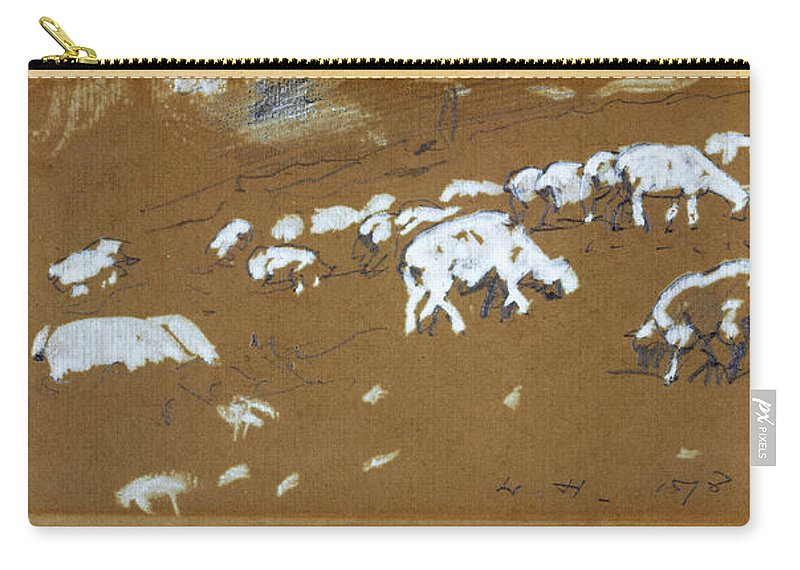 Winslow Homer Carry-all Pouch featuring the drawing Sheep by Winslow Homer