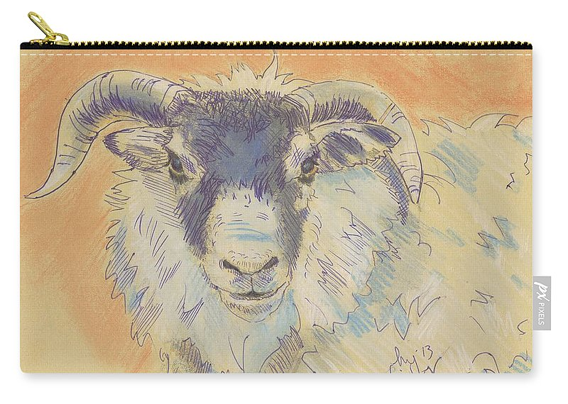 Sheep Carry-all Pouch featuring the drawing Sheep With Horns by Mike Jory