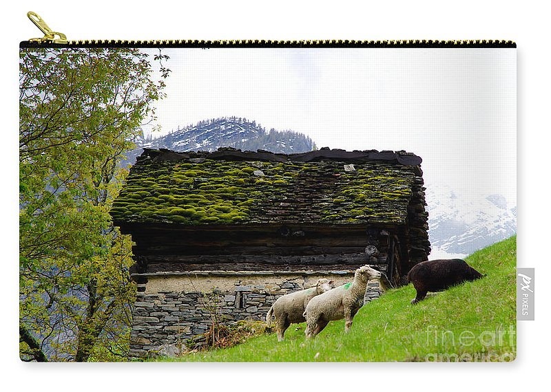 Sheep Carry-all Pouch featuring the photograph Sheeps And Rustic House by Mats Silvan