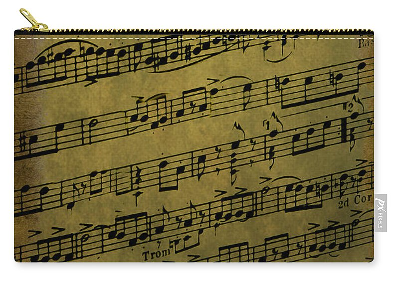 Background; Classical; Music; Sheet Music; Old; Fading; Still Life; Notes; Paper; Wallpaper; Nostalgia; Close Up; Grunge; Dirty; Song; Arrangement; Chords; Measures Carry-all Pouch featuring the photograph Sheet Music by Margie Hurwich