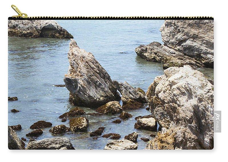 Shell Beach Rocky Coastline Carry-all Pouch featuring the digital art Shell Beach Rocky Coastline by Baarbara Snyder