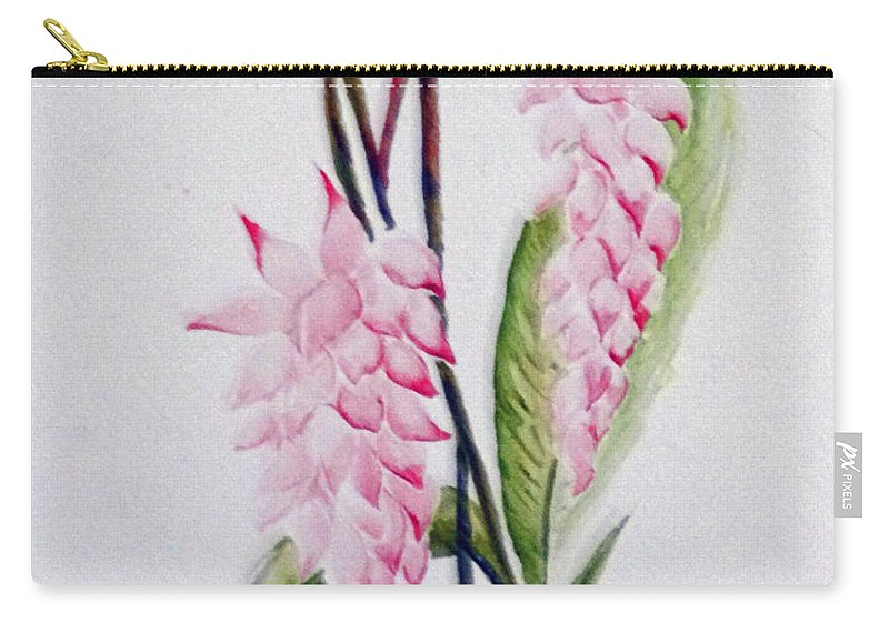Tropical Ginger Carry-all Pouch featuring the painting Shell Ginger by Karin Dawn Kelshall- Best