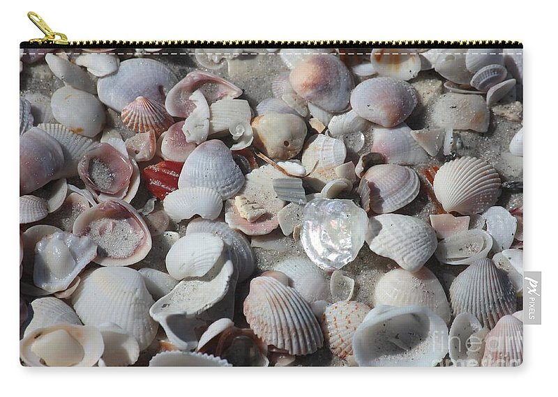 Shells Carry-all Pouch featuring the photograph Shells On Treasure Island by Carol Groenen