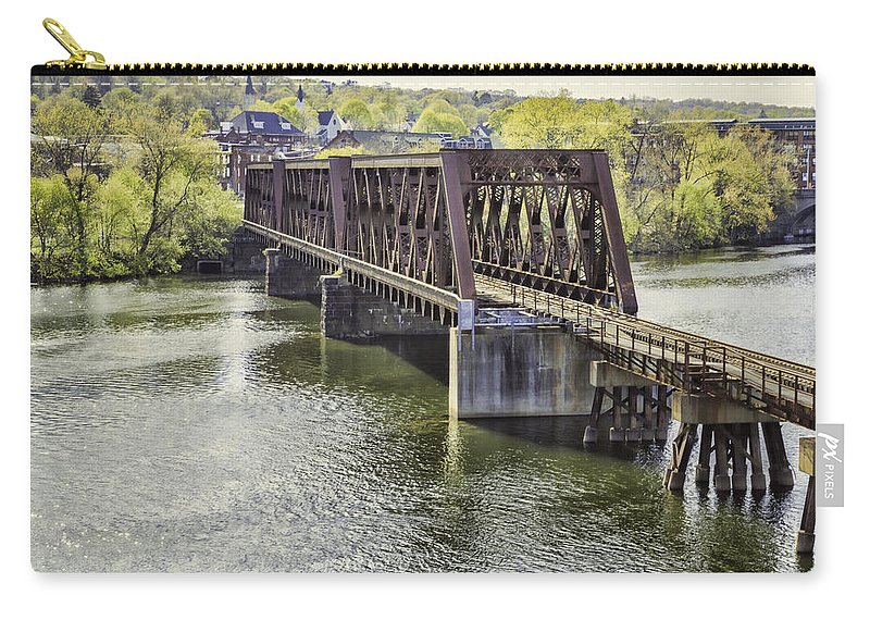 Bridge Carry-all Pouch featuring the photograph Shelton Derby Railroad Bridge by Fran Gallogly