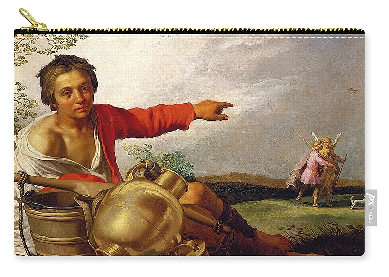 Pointing Carry-all Pouch featuring the painting Shepherd Boy Pointing At Tobias And The Angel by Abraham Bloemaert