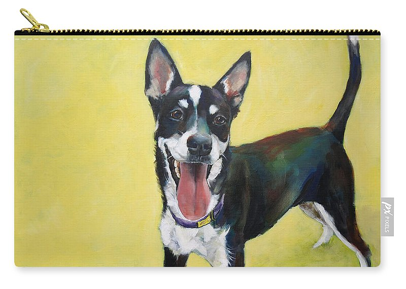 Happy Carry-all Pouch featuring the painting Shepherd Mix by Julie Dalton Gourgues