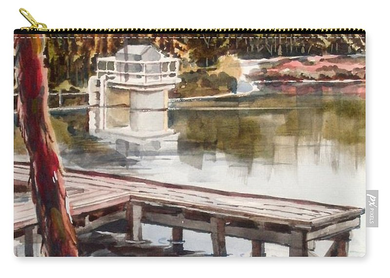 Shepherd Mountain Lake In Twilight Carry-all Pouch featuring the painting Shepherd Mountain Lake In Twilight by Kip DeVore