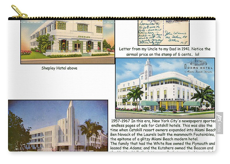 Postcard Carry-all Pouch featuring the photograph Shepley-plymouth And Adams Hotels - Art Deco by Ericamaxine Price