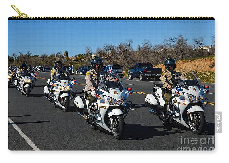 Police Carry-all Pouch featuring the photograph Sheriff's Motor Officers by Tommy Anderson