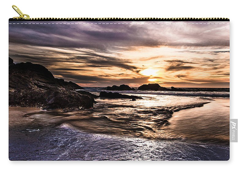 Sunset Carry-all Pouch featuring the photograph Shimmering Sea by Edgar Laureano