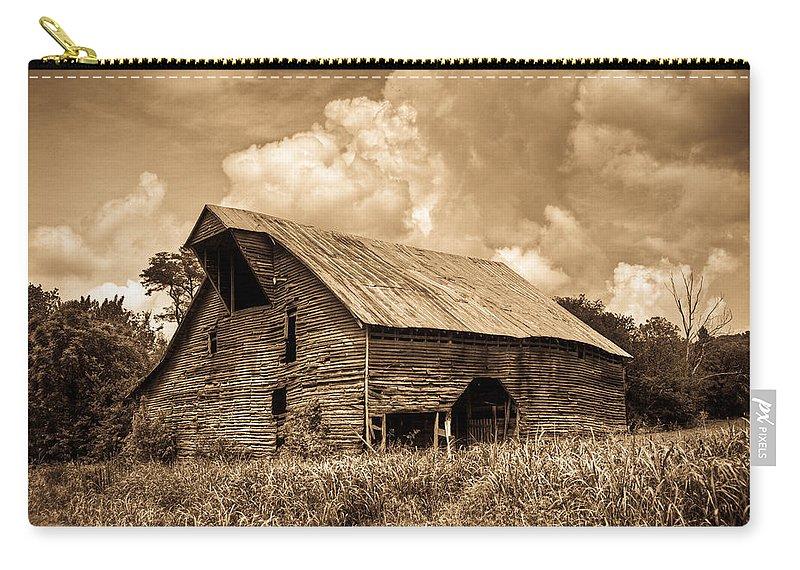 Barn Carry-all Pouch featuring the photograph Shingle Barn Sepia 2 by Douglas Barnett