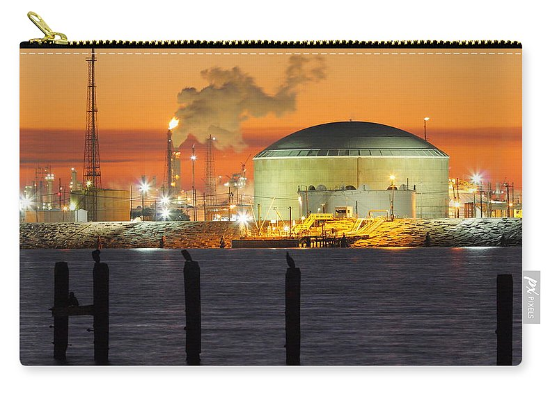 Texas City Carry-all Pouch featuring the photograph Shiny Refinery #3 2am-27808 by Andrew McInnes