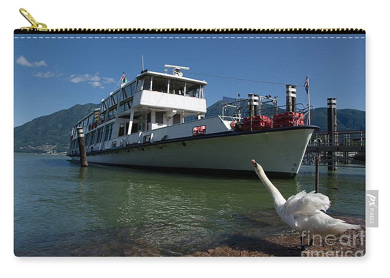 Passenger Ship Carry-all Pouch featuring the photograph Ship And Swan by Mats Silvan