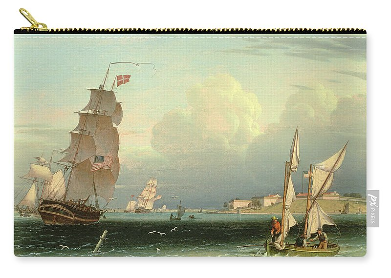 Seascape Carry-all Pouch featuring the painting Ship Going Out, Fort Independence by Robert Salmon