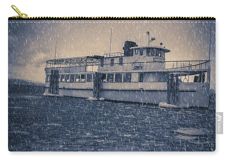 Vermont Carry-all Pouch featuring the photograph Ship In A Snowstorm by Edward Fielding