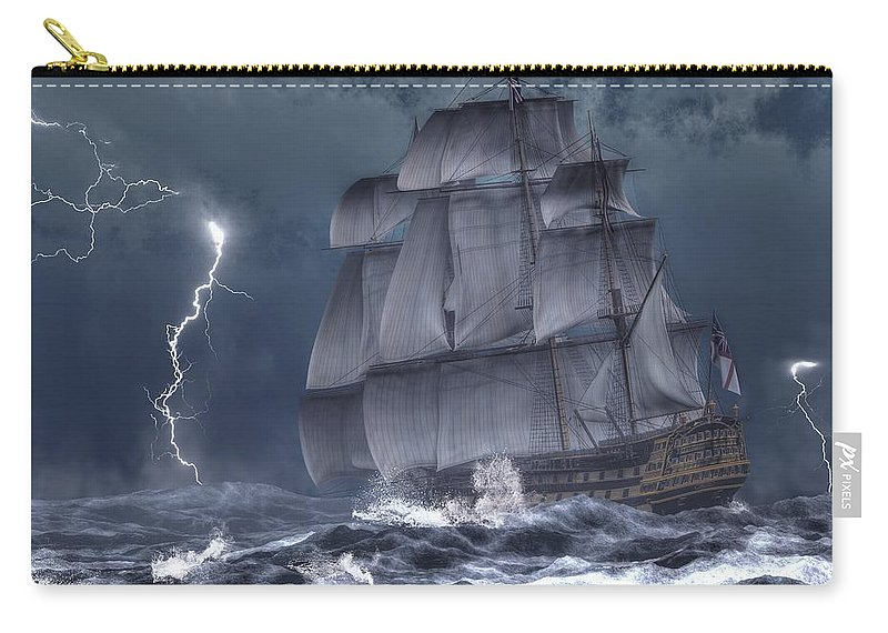 Hms Victory Carry-all Pouch featuring the digital art Ship In A Storm by Daniel Eskridge