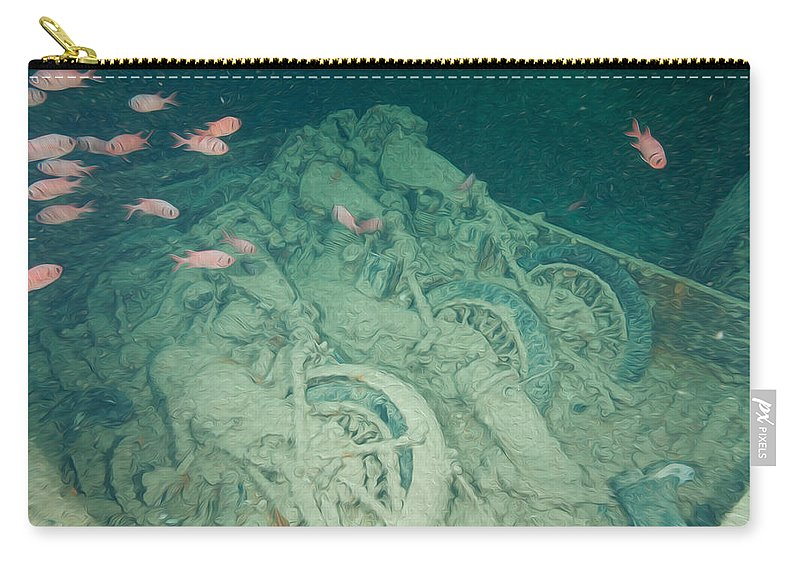 Motorbikes Carry-all Pouch featuring the digital art Fish And Motorbikes by Roy Pedersen
