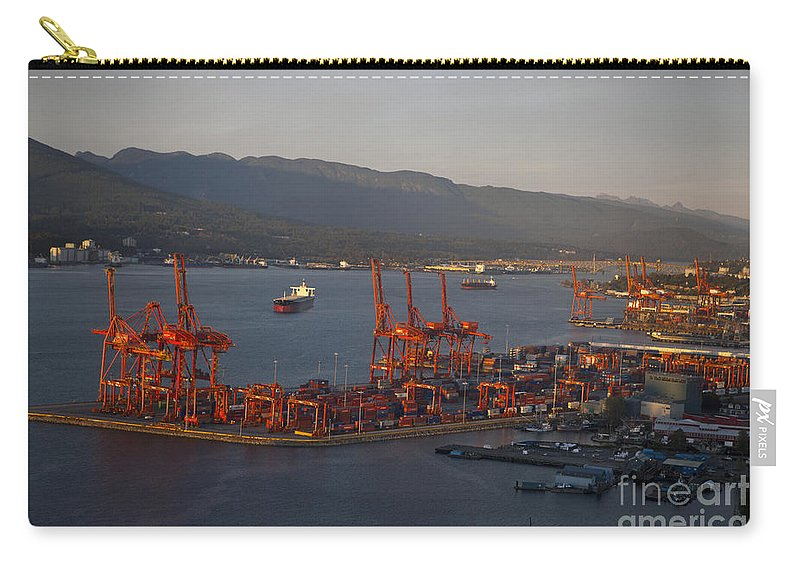 Travel Carry-all Pouch featuring the photograph Shipping Terminals Port Of Vancouver by Jason O Watson