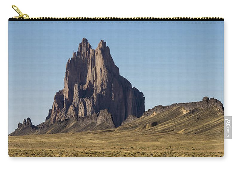 Shiprock Ship Rock North West New Mexico Nm Carry-all Pouch featuring the photograph Shiprock Panorama - North West New Mexico by Brian Harig