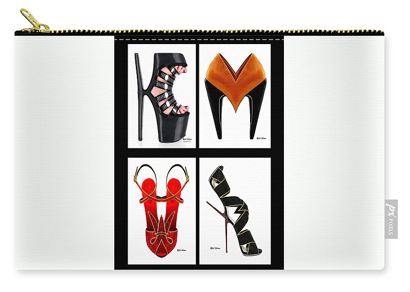 Art Carry-all Pouch featuring the digital art Shoe Love Quad by Rafael Salazar