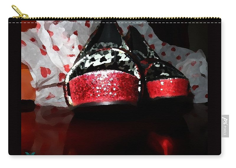 Shoes Carry-all Pouch featuring the painting Shoeluv Painted by Jannice Walker