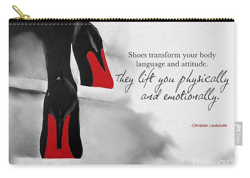 Christian Louboutin Carry-all Pouch featuring the mixed media Shoes Transform You by Rebecca Jenkins