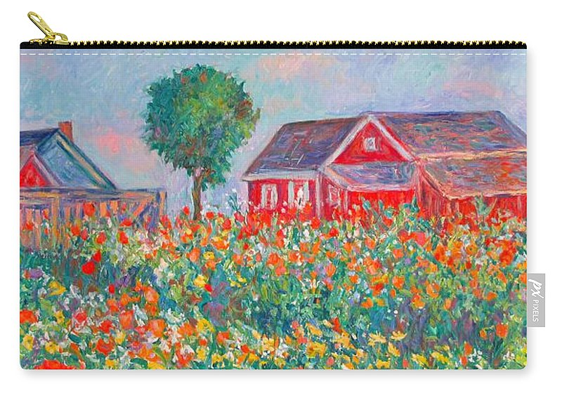Landscape Carry-all Pouch featuring the painting Shore Flowers by Kendall Kessler