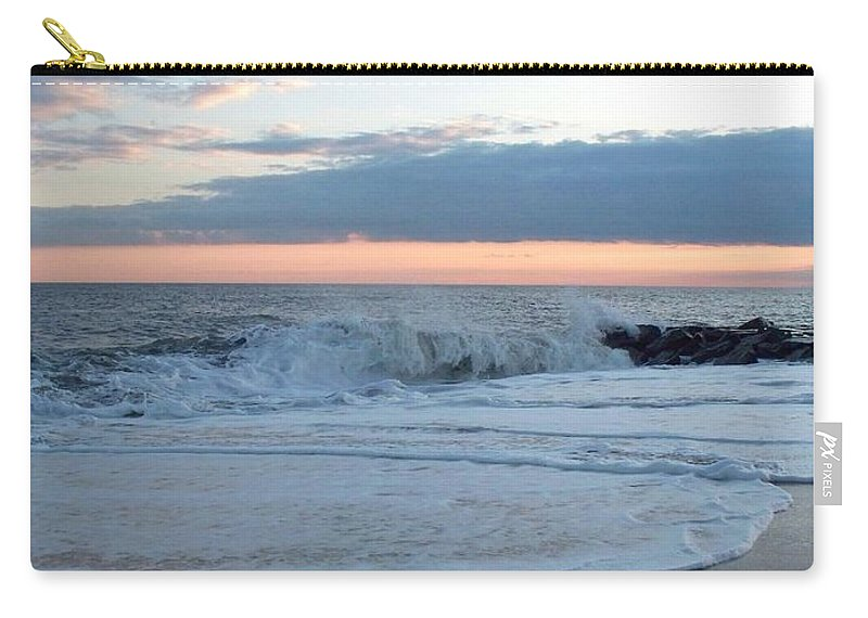 Shoreline Carry-all Pouch featuring the photograph Shoreline And Waves At Cape May by Eric Schiabor