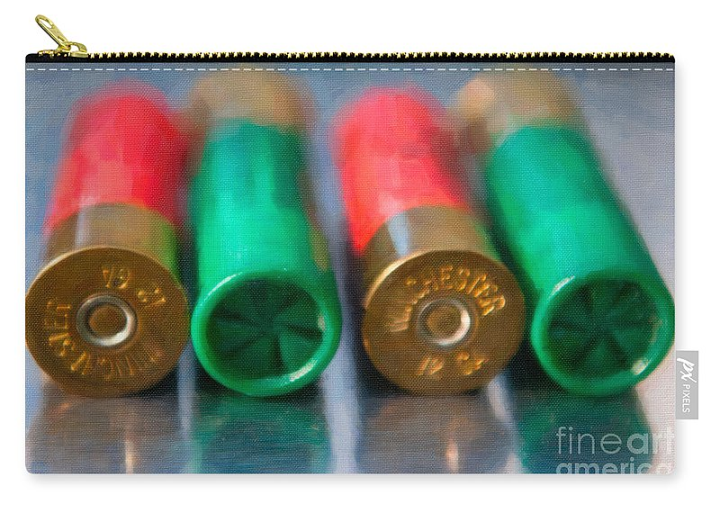 12 Carry-all Pouch featuring the digital art Shotgun Shells by Dale Powell